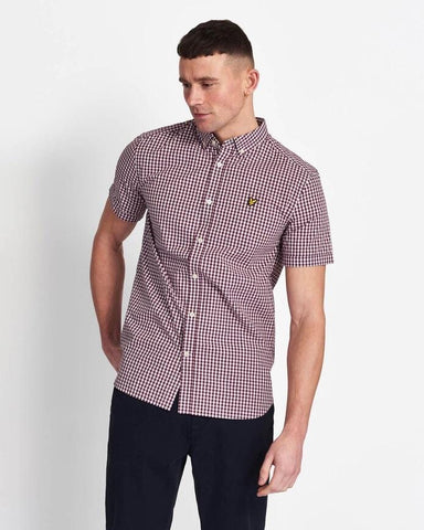 Lyle and Scott Short Sleeve Gingham Shirt Merlot/White - indi menswear