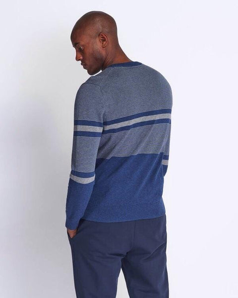Lyle and Scott Placement Stripe Knitted Jumper Dark Navy/Marl