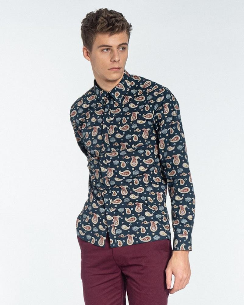 Merc London KEANE Paisley Shirt Navy