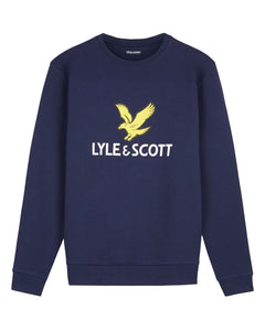 Lyle and Scott Logo Sweatshirt Navy - indi menswear