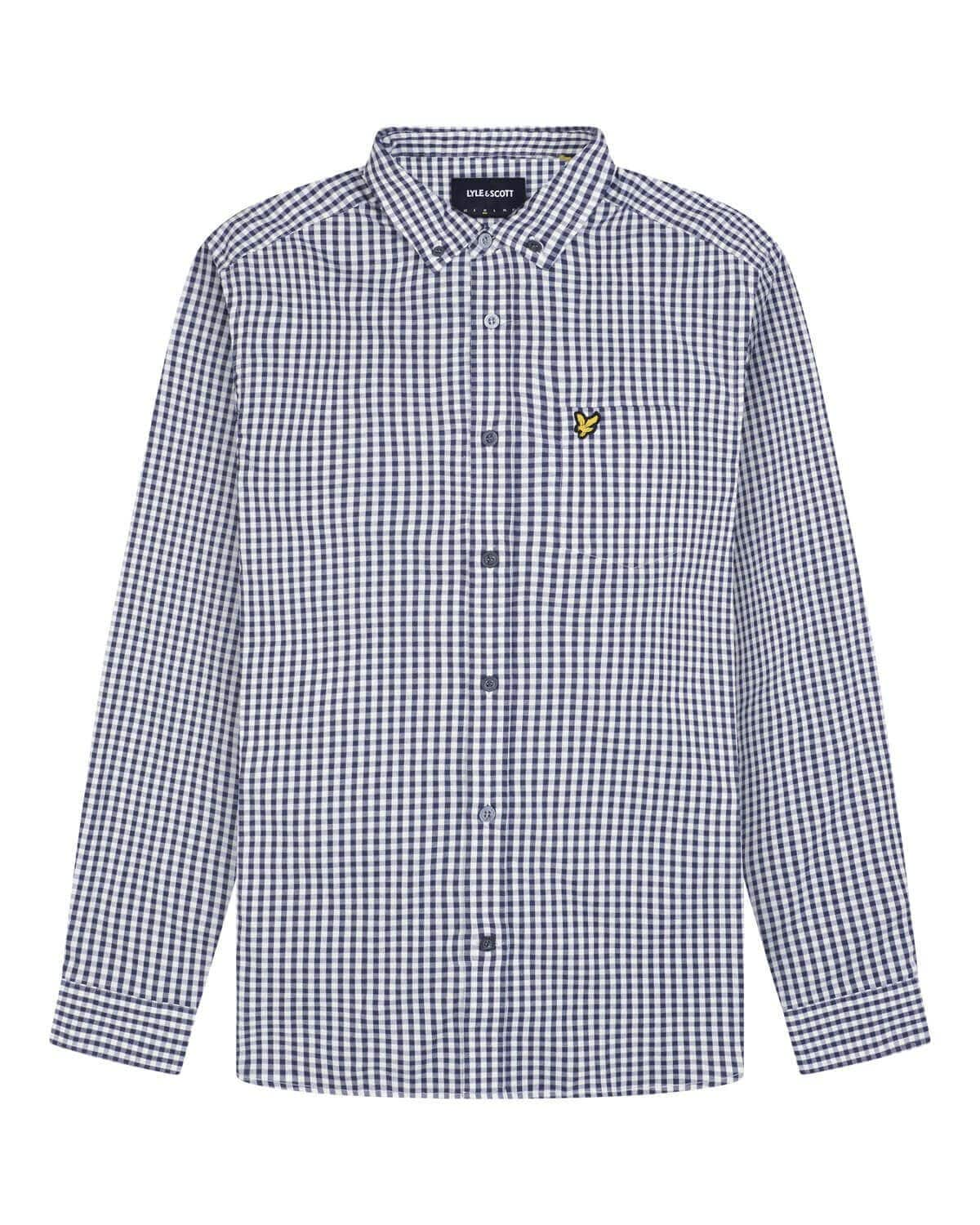 Lyle and Scott Slim Fit Gingham Shirt Navy/White