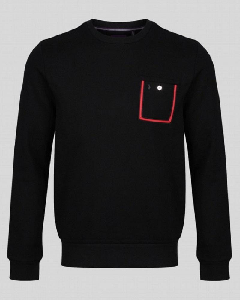 Luke DR DR Tape Pocket Crew Sweat Jet Black