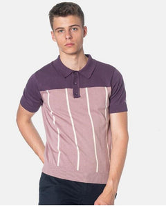 Merc London MARBLE Two-Tone Polo Knit Plum