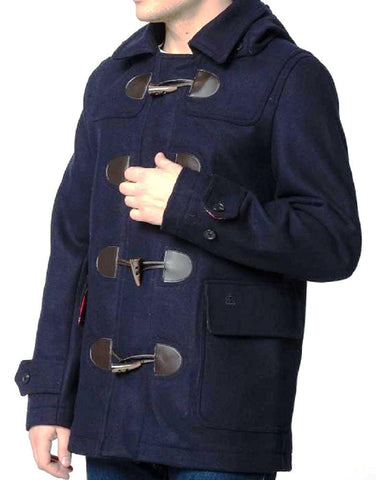 Bonner Duffle Coat Dark Blue-Merc London
