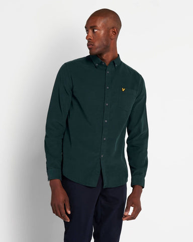 Lyle and Scott Needlecord Shirt Jade Green