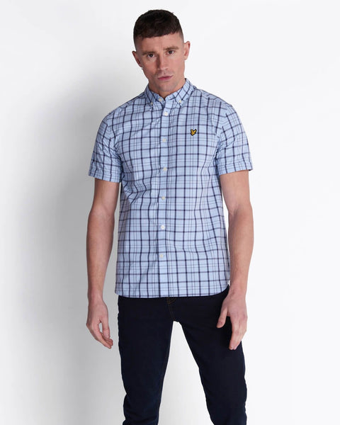 Lyle and Scott Short Sleeve Check Shirt Pool Blue - indi menswear