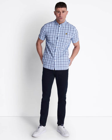 Lyle and Scott Short Sleeve Check Shirt Pool Blue