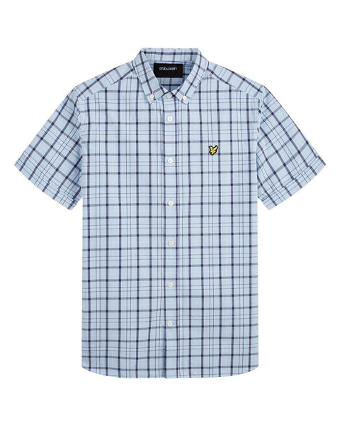 Lyle and Scott Shirt Short Sleeve Check Pool Blue