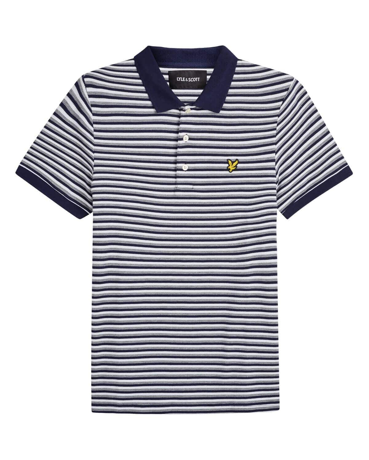 Lyle and Scott Stripe Polo Shirt Navy