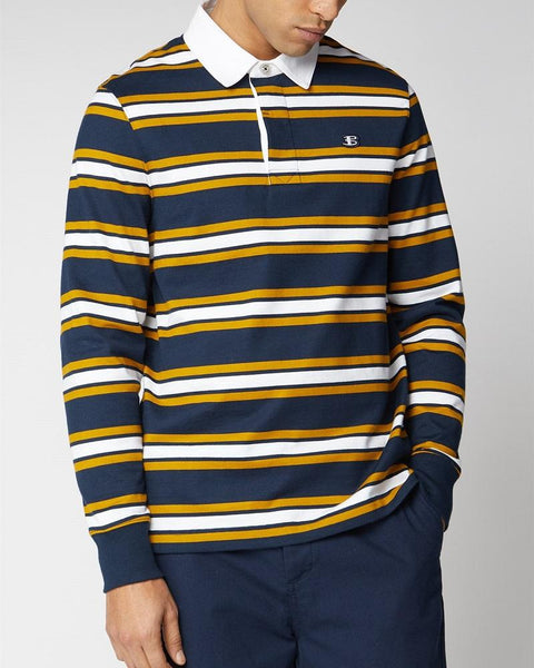 Ben Sherman Striped Rugby Shirt Navy Yellow White
