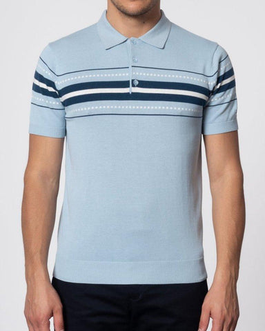 Merc London TANNER Knitted Polo Sky Blue - indi menswear