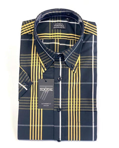 Tootal Short Sleeve Check Shirt Black/Gold