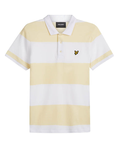 Lyle and Scott Wide Stripe Polo Buttercream - indi menswear