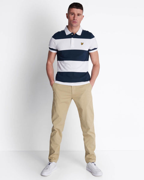 Lyle and Scott Wide Stripe Polo Shirt Navy