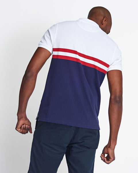 Lyle and Scott Yoke Stripe Polo Shirt White/Navy