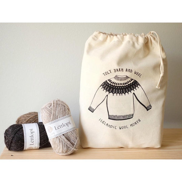 Illustration by Narangkar Glover on a Project Bag for Tolt Yarn and Wool