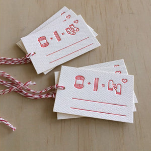 Knitting Icons Letterpress Tags