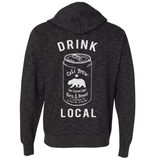 Unisex California Drink Local Beer - Heathered Zip Hoodie