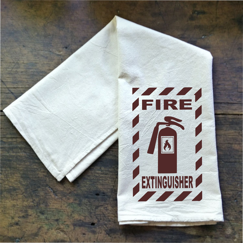 Fire Extinguisher - Flour Sack Tea Towel