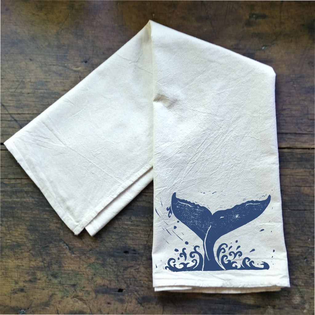 Whale Tail - Flour Sack Tea Towel