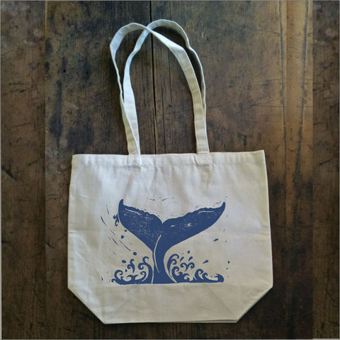 Whale Tail - Large Canvas Tote Bag
