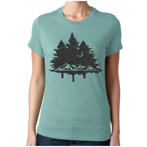 Women's In The Woods Tree Silhouette T-Shirt