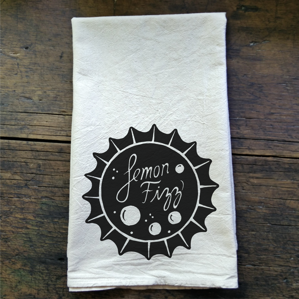 Lemon Fizz Vintage Soda Bottle Cap - Flour Sack Tea Towel