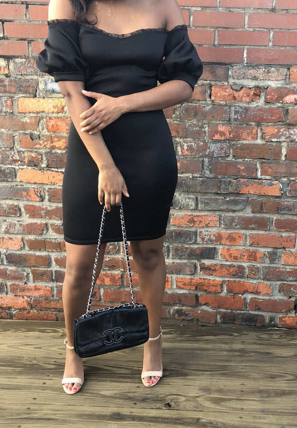 black off the shoulder dress cocktail