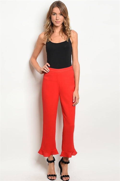 Red Ruffled Pants