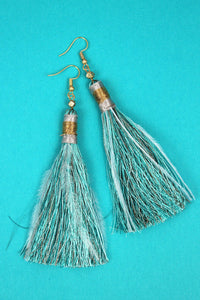 Blue Mint Tassel Earrings