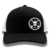 Black & White Mesh Anchor & Skull Flexfit Trucker Hat
