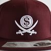 Buccaneer Burgundy Pirate & Loot Snapback Hat