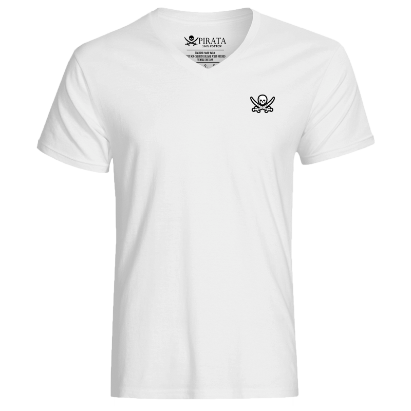 Captain Jack Embroidered White V-Neck With Large Black Skull