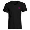 Calico Jack Pirate Flag V-Neck Black Shirt With Fuchsia Skull