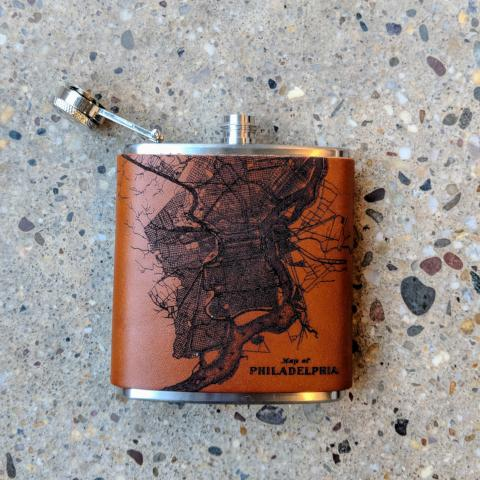 Philadelphia Leather Flask, Light Brown