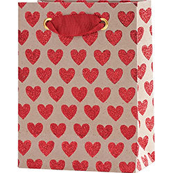 Red Glitter Hearts Gift Bag