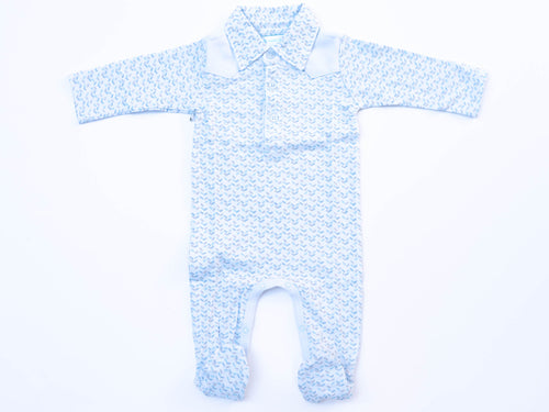 Herringbone on Blue Western Romper
