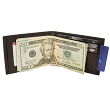 Load image into Gallery viewer, Black Leather Money Clip Wallet