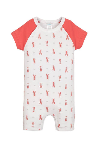 Sailor Sleeve Lobsters on White Short Romper