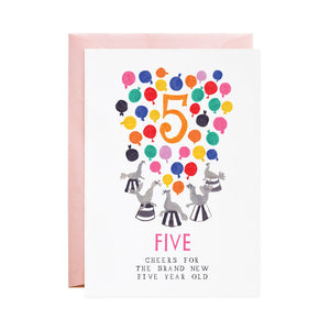 Five Cheers! 5th Birthday Card