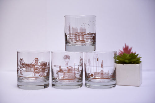 Philadelphia Skyline Rocks Glass Set
