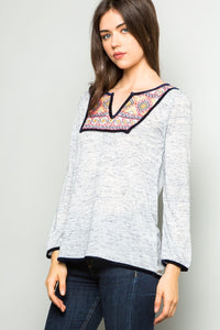 Heathered Top with Embroidery