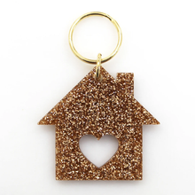 Load image into Gallery viewer, Home Sweet Home Glitter Keychain