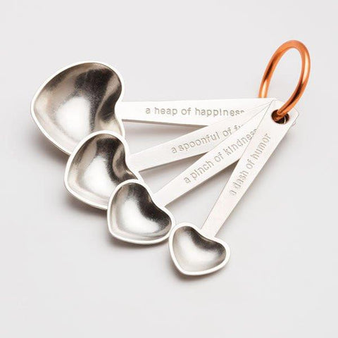 Quotes Heart Measuring Spoons by Beehive Handmade at local housewares store Division IV in Philadelphia, Pennsylvania