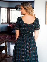 Load image into Gallery viewer, Black Ikat Reversible Stitch Dress