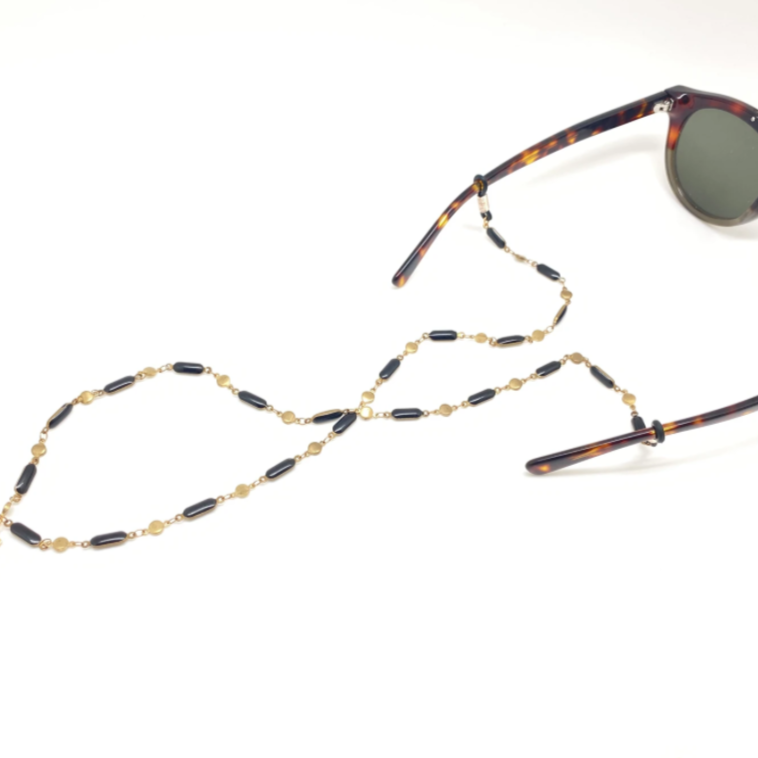 Black Enameled Glasses Chain