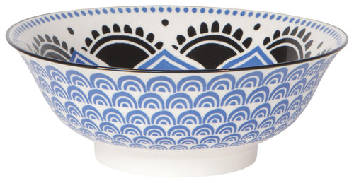 Blue & Black Floral Stamped Bowl