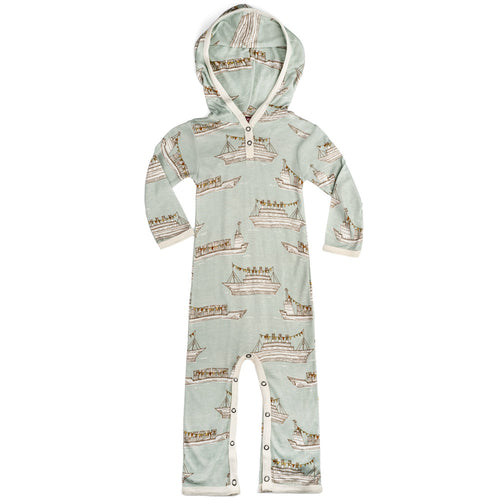 Blue Ships Bamboo Hooded Romper