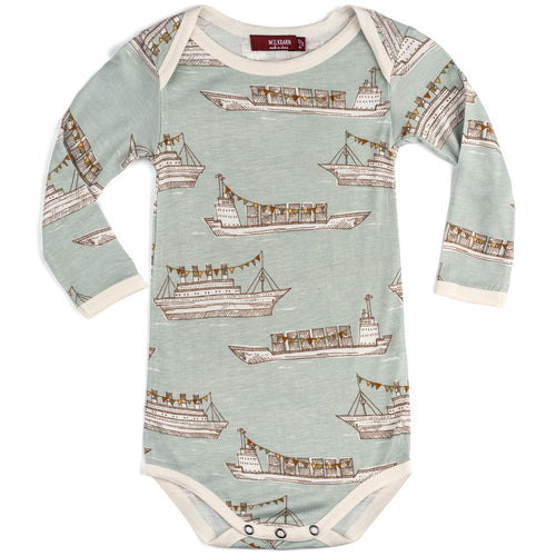 Blue Ships Bamboo Long Sleeve Onesie
