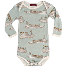 Load image into Gallery viewer, Blue Ships Bamboo Long Sleeve Onesie